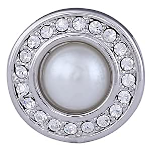 Morella Damen Click-Button Druckknopf mit weißer Perle und Zirkoniasteinen