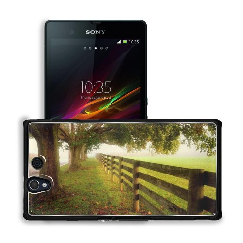 Green Landscapes Nature Trees Red Fences Sony Xperia Z 5.0 C6603 C6602 Snap Cover Premium Aluminium Design Back Plate Case Customized Made To Order Support Ready 5 4/8 Inch (140Mm) X 2 7/8 Inch (73Mm) X 7/16 Inch (11Mm) Msd Sony Xperia Z Cover Professiona