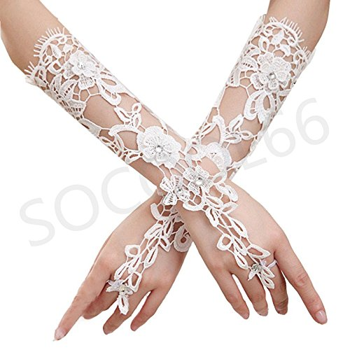 SOCOOL66 Beautiful Bridal Gloves,luxury Hollow Lace Flower Glove Wedding Dress Accessories