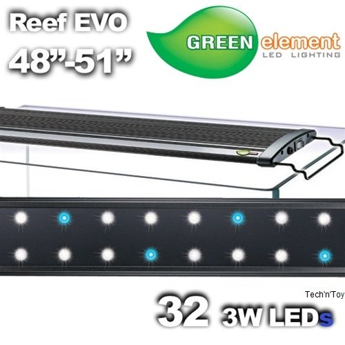 "Green Element Evo 48""-52"" Led Aquarium Light Fixture - Reef Capable 32X3W"