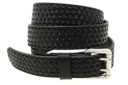 Made In USA 1 1/2 Black Leather Belt Double Holes Basket Weave Embossing Size 56