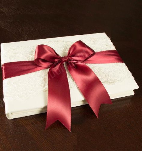 Beverly Clark Keepsake Ivory Lace Guest Book Album With Satin Rouge Ribbon For Reception Sign In back-776953