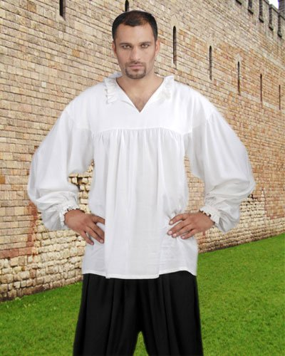 Medieval Poet's Pirate Early Renaissance Shirt Costume [White]