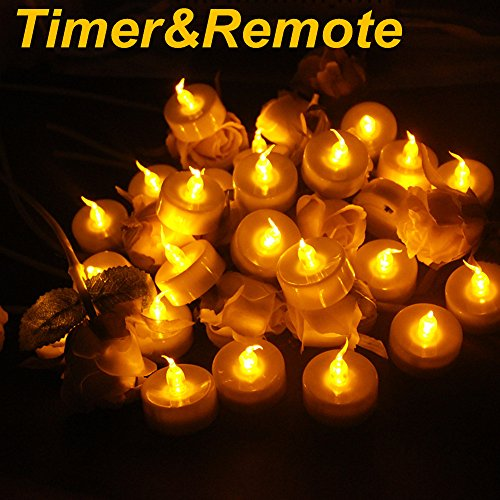Topstone Upgraded LED Tealight Candles with 24 Pcs CR2045 Batteries ,Flameless Amber Flickering Flame,Remote Control and 4H 6H 8H Timer,2 Dozen Pack (Remote Control Votive Candles compare prices)