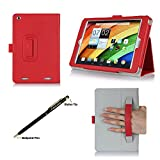 ProCase Acer Iconia A1-830 Tablet Case with bonus stylus pen - Flip Stand Folio Cover for Acer Iconia A1-830 Android Tablet (2014 released), Corner Protected, with Stand and Hand Strap (Red)