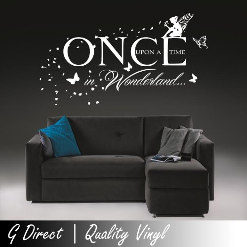 Once Upon A Time In Wonderland Wall Sticker Fairy Butterflies Kids Bedroom Mural 100X55 front-230336