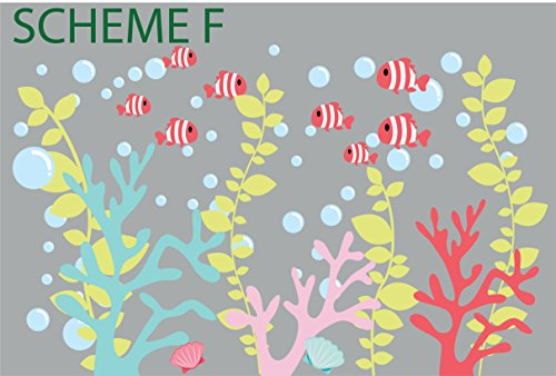 Coral Decals - Coral Wall Decals - Fish Decals - Girls Wall Decals - Boys Wall Decals - Ocean Decals (Color Scheme F) (Coral Wall Decals compare prices)