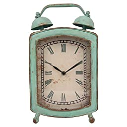 NIKKY HOME Shabby Chic Retangle Metal Quartz Table Clock with Handle, Aqua Blue Green 8 by 14 Inch
