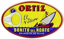 Ortiz Bonito Del Norte Tuna in Olive Oil 3.95 Oz Oval Tin (Spain) 24 Pack