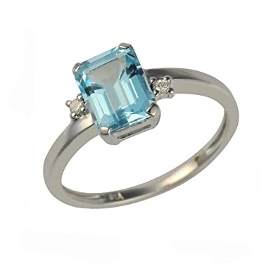 Ivy Gems 9ct White Gold Princess Cut Blue Topaz and Diamond Ring