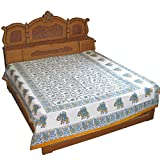 Elephant Bed Sheet for Bedroom Handmade Floral Block Print Queen Size from Indiaby DakshCraft