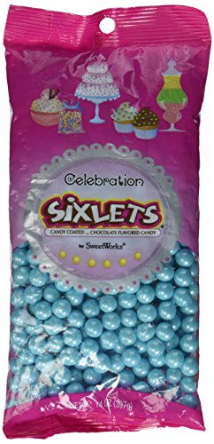 Sweetworks Celebrations Candy Sixlets Shimmer Bag, 14 oz, Powder Blue - 1