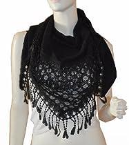 SCARF_TRADINGINC® Triangle Knit & Lace Fashion Scarf (BLACK)