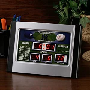 MLB New York Yankees 27x World Series Champions Alarm Scoreboard Clock by Fans With Pride