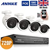 ANNKE® 4CH 720P HD PoE NVR Security Systems QR Code Scan Easy Setup 4 Indoor/Outdoor PoE Weatherproof 720P HD IP Security Camera Quick Remote Access via Smartphone, No HDD (No HDD)