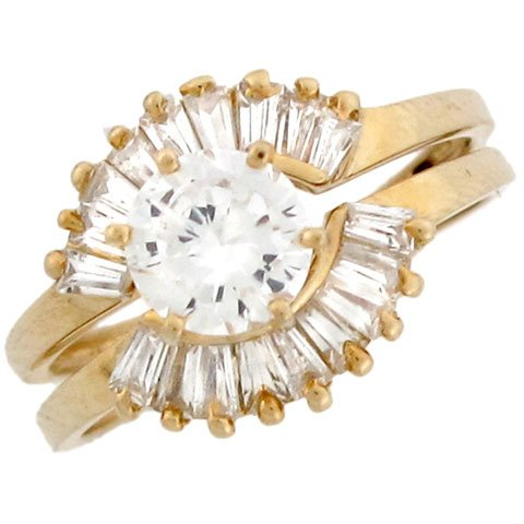 10k Yellow Gold Round CZ Stackable Engagement Set and Baguette Accents