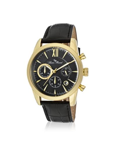 Lucien Piccard Men's LP-12356-YG-01 Mulhacen Chronograph Genuine Leather Black/Gold-Tone Stainless Steel Watch