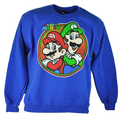 Super Mario Brothers Luigi Graphic Video Game Blue Sweatshirt Sweater Men