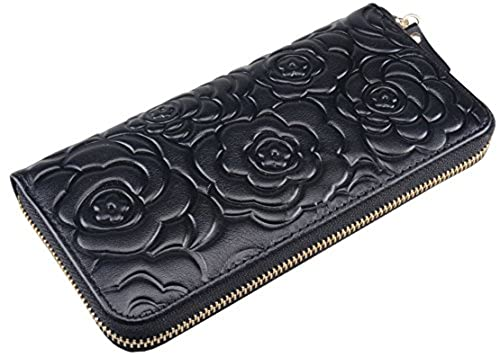 10. Heshe Women Rose Pattern Zipper Around Organizer Clutch Card Case Holder Money Clip Long Wallet