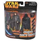 Star Wars Year 2005 Revenge Of The Sith Changes To Darth Vader Series 4 Inch Tall Action Figure Set - ANAKIN SKYWALKER...