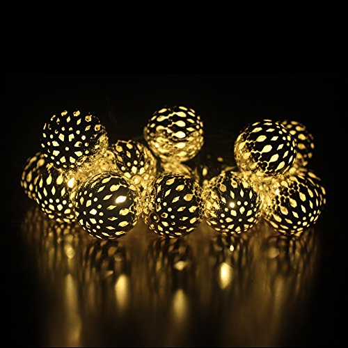 Dephen Solar Globe Ball String Lights 30LED 20ft Fairy Orb