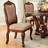 Bobkona Dining Chair in Light Brown Microfiber/Dark Cherry Finish