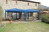 DRAPER 3M x 6M BLUE FOLDING GAZEBO Folding gazebo manufactured from tough splashproof material Steel legs and easy build up concertina frame to provide extra strength with guy ropes and floor pegs for rigidity Ideal for commercial domestic and outside wor