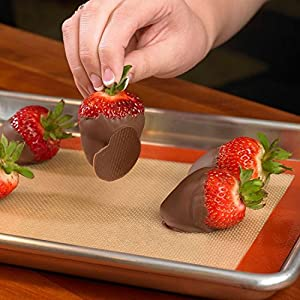 2 Silicone Baking Mat-Non Stick Silicon Liner for Bake Pans & Rolling - Macaron / Pastry / Cookie / Bun / Bread Making Professional Grade Nonstick by Yummy Sam
