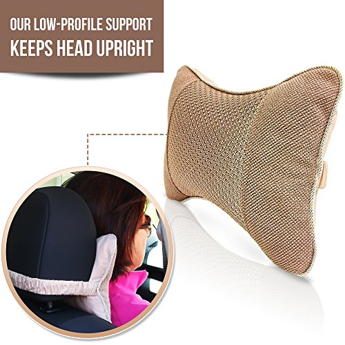 Travel Pillow Therapeutic Neck Support for Car Airplane and Bed with Natural Activated Bamboo Charcoal as an Air Purifier and Odor Eliminator