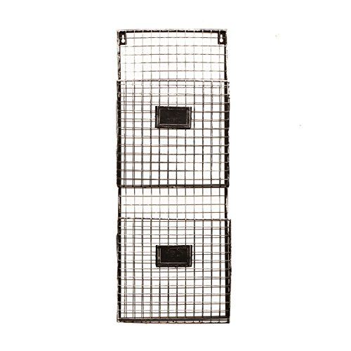 new pewter metal wall mount double file holder office home organizer free ship ebay. Black Bedroom Furniture Sets. Home Design Ideas