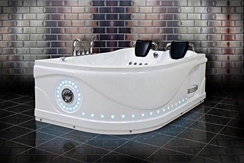Whirlpool Bath Venezia 761 lato sinistro angolo di lusso per vasca da bagno, completamente equipaggiata, per 2 persone, vasche idromassaggio Multi-funzione, con pannello di controllo per doccia, con radio FM, con possibilità di connessione CD/MP3 player/44/LED Hot/Cold water controller, consegna veloce & 24 mesi di garanzia)