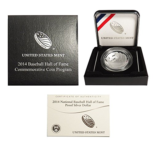 2014 P $1 Proof National Baseball Hall Of Fame Silver Dollar, Box, Ogp & Coa Us Mint
