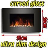 KNIGHTSBRIDGE BLACK CURVED GLASS WALL MOUNTED ELECTRIC FLICKER LIVING FLAME FIRE FIREPLACE
