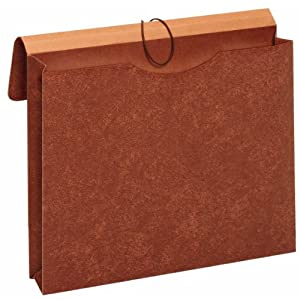 Globe-Weis Letha-Tone File Envelopes with Elastic Closures, 2-Inch Expansion, Letter Size, Brown, Box of 24 (MM30)