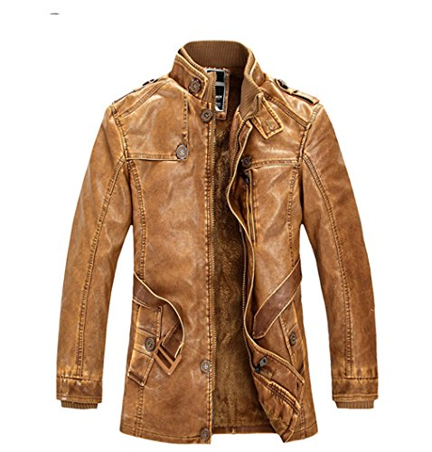 sulandy@ Men's coat collar motorcycles leather jacket trench coat velvet windbreaker