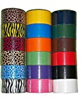 """18 Roll Variety Pack of Bazic Print and Solid Colors (brights and regular colors) of All Purpose Duct Tape. Brights Include: green, blue, orange, purple,pink and yellow. Regular colors include: brown, white, black, green, red, and blue. The prints include: various animal prints. All solid color rolls are 1.89""""x 10 yards. All print rolls are 1.89""""x 5 yards."""