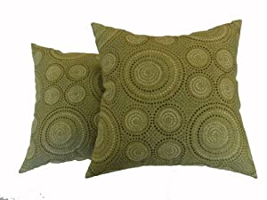Decorative Pillows Newport Layton Home Fashions : Amazon.com - Newport Layton Home Fashions 2-Pack KE20 Indoor/Outdoor Pillows, Enterprise, Basil ...