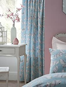 Rhapsody Butterfly Blue 66x72 Pencil Pleat Fully Lined Curtains #tubhob *tur* by PCJ Supplies