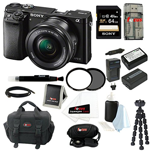 Sony Alpha a6000 ILCE-6000L/B ILCE6000LB 24.3 Interchangeable Lens Camera with 16-50mm Power Zoom Lens + Sony 64GB SDXC Card + Camera Bag + Tiffen 4.05mm UV Protector and Circular Polarizer Filters+ Wasabi Power Two Replacement Sony NP-FW50 Batteries and Charger + Accessory Kit