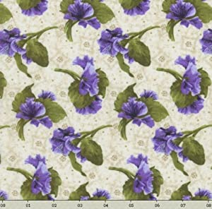 """RJR Debbie Beaves 'Lovely' Tossed Purple Pansies on Natural Cotton Fabric - 1yd 12"""""""