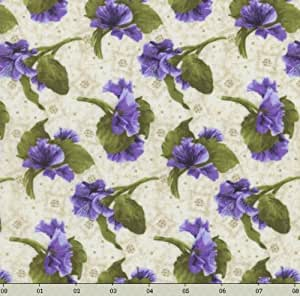 RJR Debbie Beaves 'Lovely' Tossed Purple Pansies on Natural Cotton Fabric - 1yd 12""