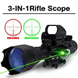 Tactical 3 IN 1 AR15 Rifle Scopes 4-16X50EG Dual Ill Optical Reticle with Holographic Unlimted R&G Dot Sight W/ Green Laser for Hunting Mount(24 Month Warranty) (4-16x50EG+HD103+JG5(green laser))