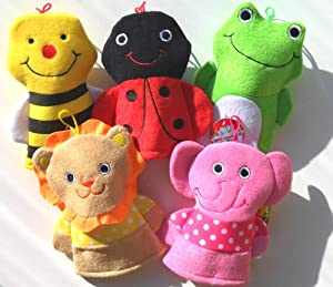 Washcloth Hand Puppet Terrycloth Washmitt Set of 3 - Assorted Bumble Bee, Elephant, Lion, Frog & Lady Bug