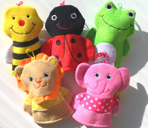 Washcloth-Hand-Puppet-Terrycloth-Washmitt-Set-of-3-Assorted-Bumble-Bee-Elephant-Lion-Frog-Lady-Bug