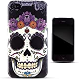 Cover colorate in gel TPU della Zooky per iPhone 4/4S con tatuaggio di un teschio