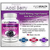 Vivid Nutrition Premium Acai - High Potency, Pure Acai Berry Supplement. The All-Natural Diet, Weight Loss, Colon Cleanse Formula