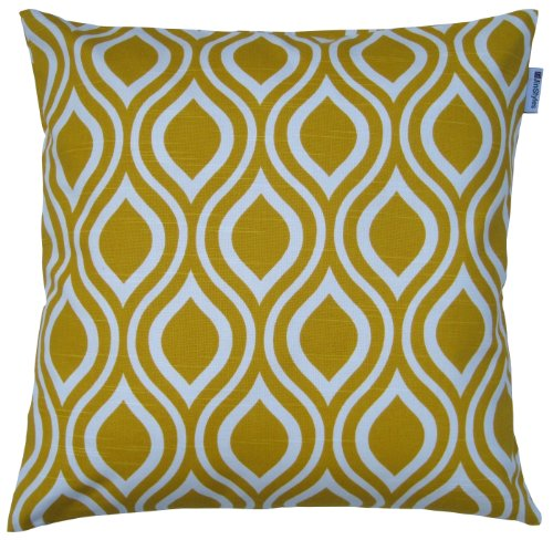 Jinstyles Cotton Canvas Ogee Accent Decorative Throw Pillow Cover (Yellow, White, Square, 1 Cover For 16 X 16 Inserts)