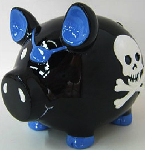 "Black Pirate Skull & Crossbones Piggy Bank - 4"" - 1"