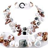 Double Strand Necklace made of Freshwater Cultured Pearls and Stones *** Augustina Jewelry Special Design !