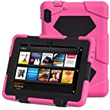 """ACEGUARDER Shockproof Case for Kindle Fire HDX 7"""" Rainproof Waterproof Shockproof Kids Proof Case for Kindle Fire HDX 7""""(only Fit Kindle Fire HDX 7 2013) (Gifts Outdoor Carabiner + Whistle + Handwritten Touch Pen) (ROSE/BLACK)"""